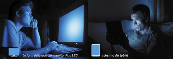 luce blu dei monitor dannosa per la vista