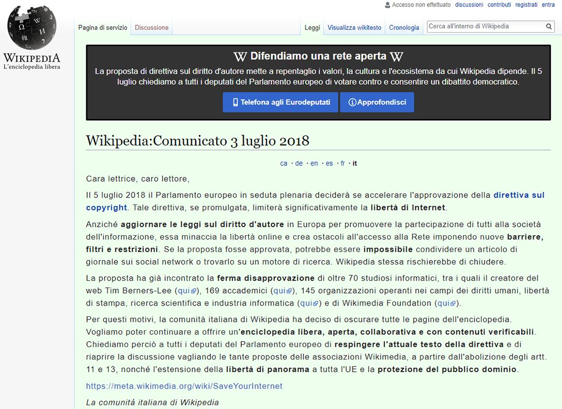 wikipedia oscurata direttive copyright